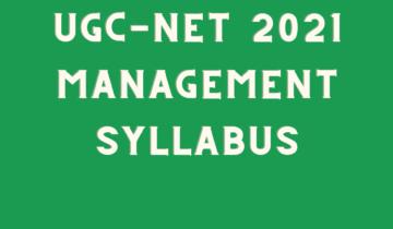 UGC NET MANAGEMENT SYLLABUS